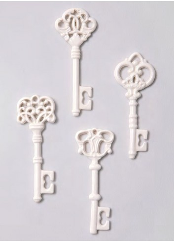 Chiave lucida bianca in porcellana 4 soggetti assortiti A5101/B Passe-Partout AD Emozioni