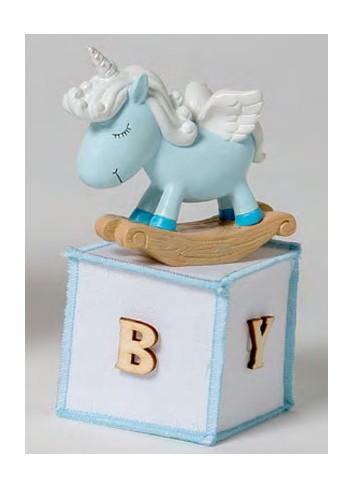 Unicorno piccolo celeste con sacchetto 130522-A3 Baby Unicorns Ad Emozioni