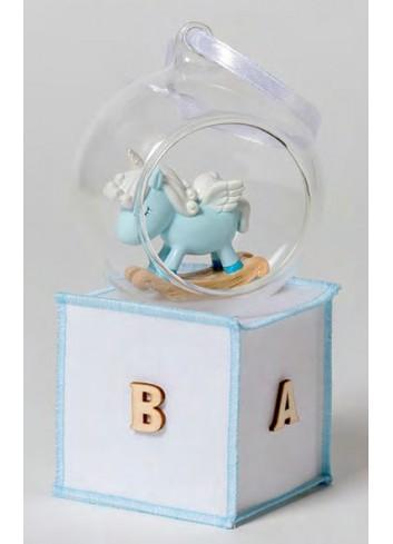 Sfera in vetro con unicorno celeste + sacchetto 130524-A3 Baby Unicorns Ad Emozioni