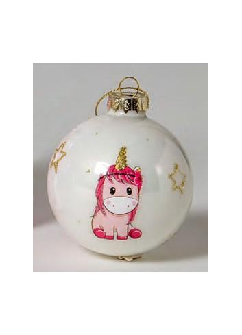 Pallina in vetro Unicorno rosa 130511-2 2 Il mio primo Natale Ad Emozioni