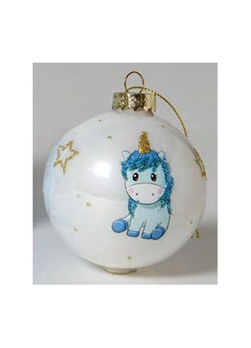 Pallina in vetro Unicorno celeste 130511-2 3 Il mio primo Natale Ad Emozioni