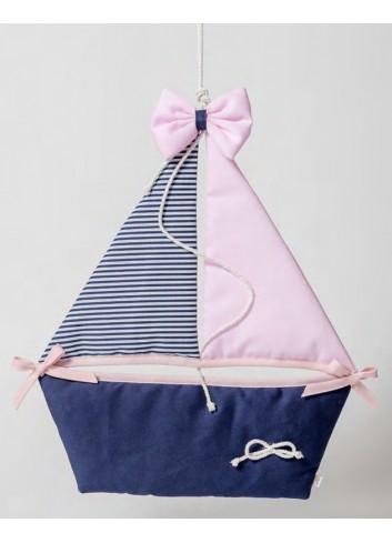 Fiocco nascita Barca a vela rosa 091848-2 Born Ad Emozioni