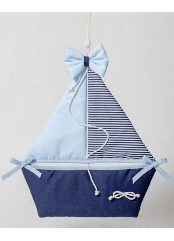 Fiocco nascita Barca a vela celeste 091848-3 Born Ad Emozioni