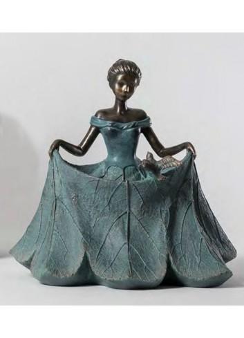 Statua donna media vestito foglia B1901 Les damoiselles Ad Emozioni