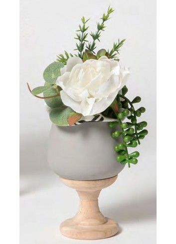 Bicchiere in cemento con base in legno + sacch. decoro piante grasse A9801-2-3 A Borgogna Ad Emozioni
