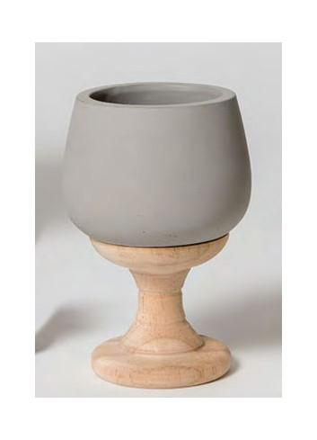Bicchiere in cemento con base in legno A9801-2-3 Borgogna Ad Emozioni