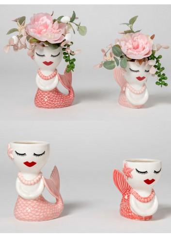 Sirena portapiantina 4 modelli assortiti + decorazione piante grasse B2701 A Ariel Ad Emozioni