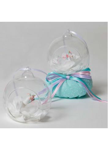 Unicorno 2 modelli assortiti con sfera vetro + sacchetto tiffany 130554 A 22 Dreams Pony Ad Emozioni
