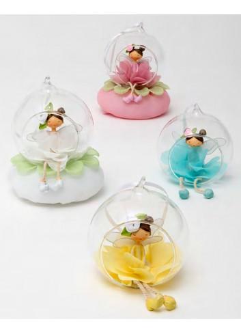 Fatina fiore 4 colori assortiti con sfera vetro + sacchetto 130472 A Trilly Ad Emozioni