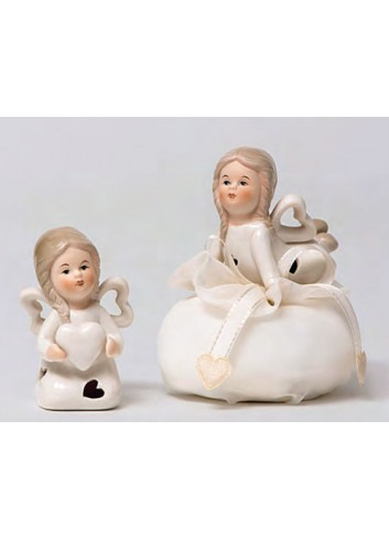Angioletta piccola in porcellana 2 modelli assortiti + sacchetto A5701-A Happyness Ad Emozioni