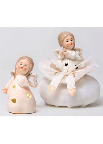 Angioletta grande in porcellana con led 2 modelli assortiti + sacchetto A5702-A Happyness Ad Emozioni