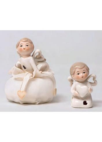 Angioletto piccolo in porcellana 2 modelli assortiti + sacchetto A5703-A Happyness Ad Emozioni