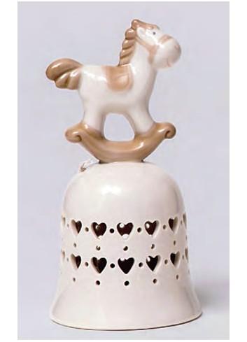 Campanella in porcellana Cavallino a dondolo A5705 Happyness Ad Emozioni