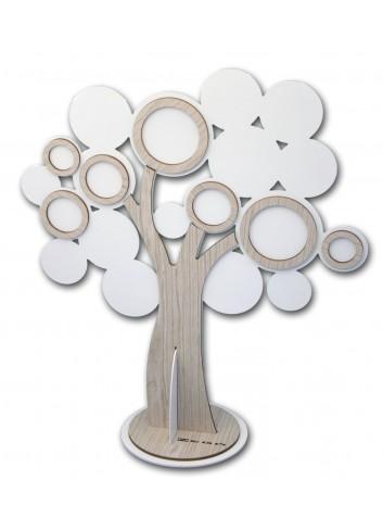 Espositore Albero della vita in metallo bianco e legno ESP-03-02-01 Serie Expo 2020 Negò