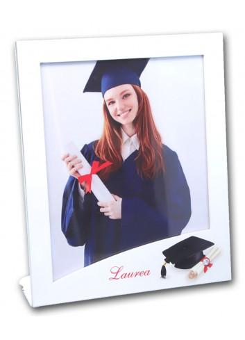 Portafoto in metallo bianco con stampa Laurea GUA-01 1-2 Serie Traguardo Negò