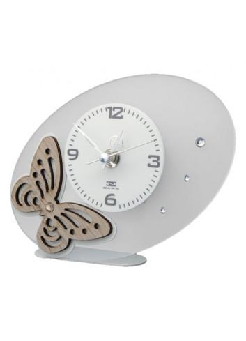 Orologio da appoggio con applicazione Farfalla in legno + strass BUT-03-08-06 Serie Butterfly Negò