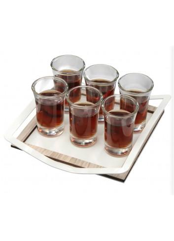 Vassoio medio in metallo con cornice in legno + 6 Bicchierini EASY-02 Serie Easy Negò