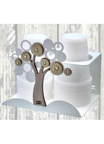 Portabicchieri doppio Albero Life in metallo e legno + strass LCA-09 Serie Life Casa Negò