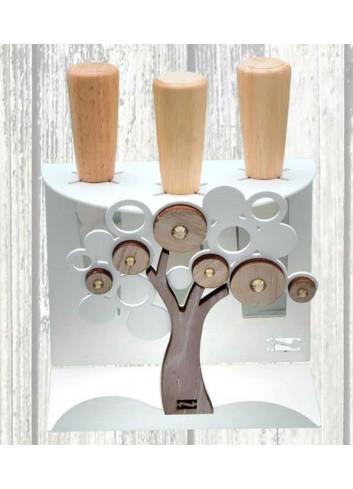 Portacoltellini Albero Life in metallo e legno + 3 coltellini LCA-PC Serie Life Casa Negò