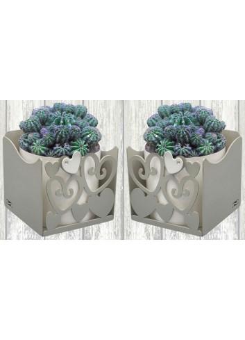 Portapiantina doppio con Cuori + n. 2 vasi GAR-C27-30 Serie Garden Cuori Negò