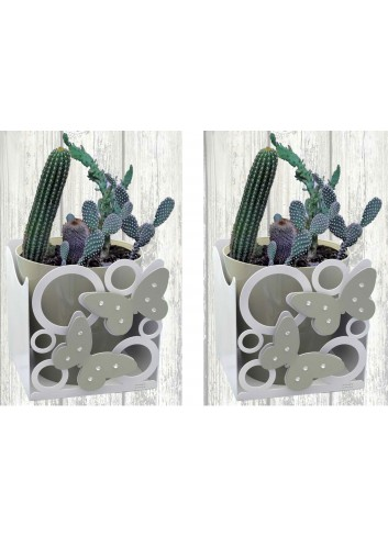 Portapiantina doppio con Farfalle + n. 2 vasi GAR-F27-30 Serie Garden Farfalle Negò