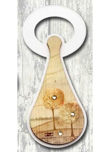 Apribottiglie in metallo + appl. in legno con stampa Autunno SPA-05 Serie Stappo Paesaggio Negò