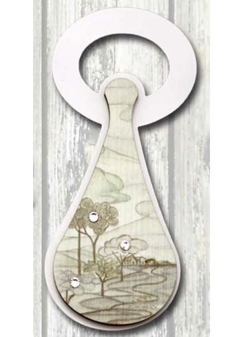 Apribottiglie in metallo + appl. in legno con stampa Laghetto SPA-07 Serie Stappo Paesaggio Negò