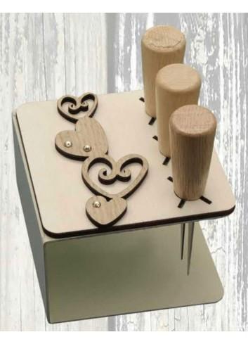 Porta coltellini in metallo + appl. Cuori in legno ODL-C Serie Porta coltellini 2020 Negò