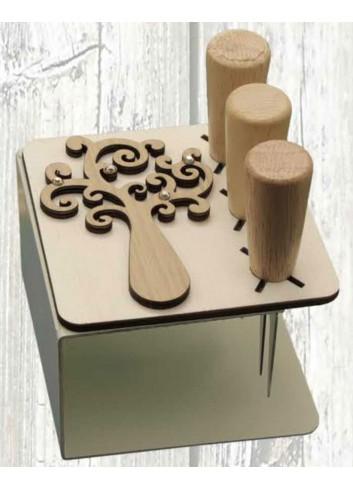 Porta coltellini in metallo + appl. Albero della vita in legno ODL-A Serie Porta coltellini 2020 Negò