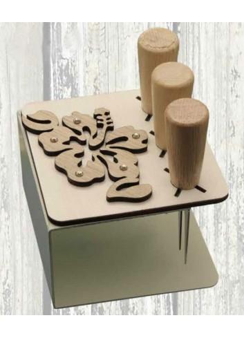 Porta coltellini in metallo + appl. Hibiscus in legno ODL-H Serie Porta coltellini 2020 Negò