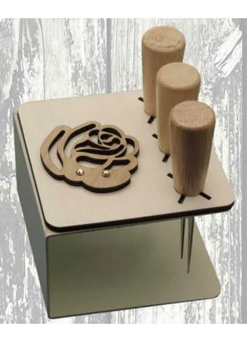 Porta coltellini in metallo + appl. Rosa in legno ODL-R Serie Porta coltellini 2020 Negò