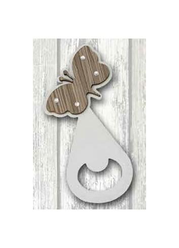 Apribottiglie Farfalla in metallo bianco e legno + strass ST-193 Serie Stappo 019 Negò