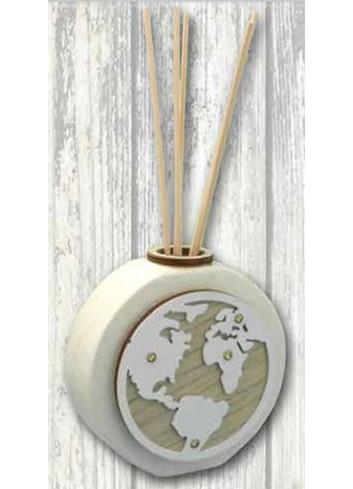 Profumatore in ceramica + applicazione Mondo in metallo e legno SFR-08 Serie Formelle Rotonde 019 Negò