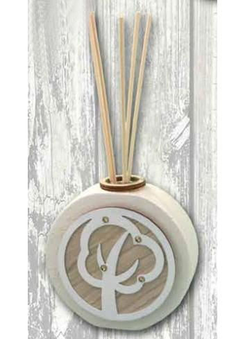 Profumatore in ceramica + applicazione Albero in metallo e legno SFR-09 Serie Formelle Rotonde 019 Negò