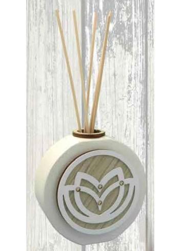 Profumatore in ceramica + applicazione Tulipano in metallo e legno SFR-11 Serie Formelle Rotonde 019 Negò