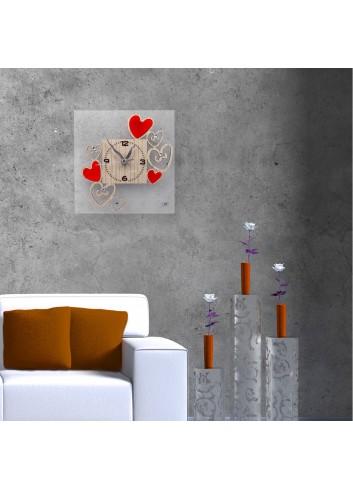 Orologio da parete con applicazione Cuori rossi in legno HEA-39-49 Serie Heart Negò