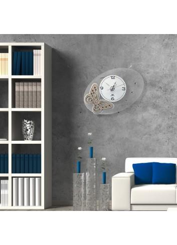 Orologio da parete con applicazione Farfalla in legno BUT-49 Serie Butterfly Negò
