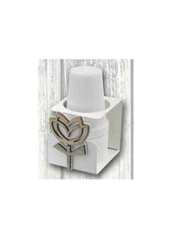 Portabicchieri singolo in metallo con applicazione Tulipano in legno e strass TUL-13 Tulipano Negò