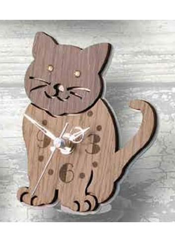 Orologio Gattino in metallo bianco e legno con strass SML-03/06 Gatto Legno Negò