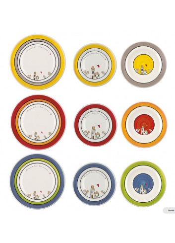 Set 18 piatti colori assortiti PLC61T-18X Le casette Egan
