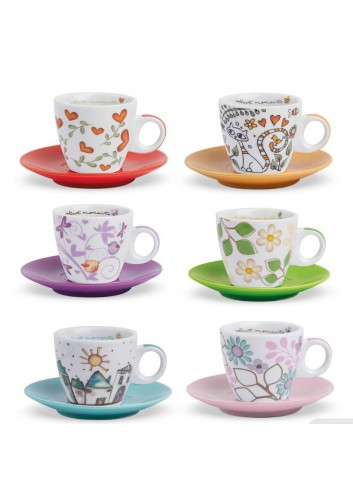 Set sei tazzine caffè colori e decori assortiti PTE06-1Z Tea for Two Egan