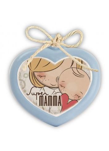 "Mini formella azzurra Cuore ""Mamma"" 7 x 6 cm PE08CU/21Y Pensieri & Parole Egan"