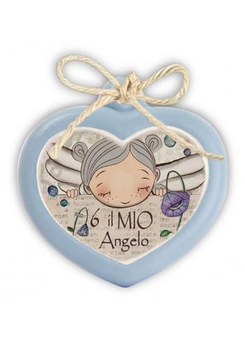 "Mini formella azzurra Cuore ""Angelo"" 7 x 6 cm PE08CU/23Y Pensieri & Parole Egan"