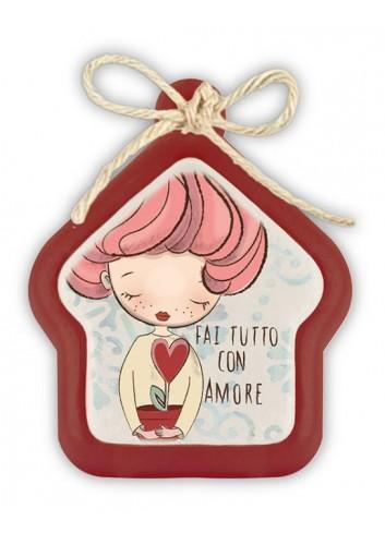 "Mini formella rossa Casa ""Love"" 7 x 7 cm PE08HO/26Y Pensieri & Parole Egan"