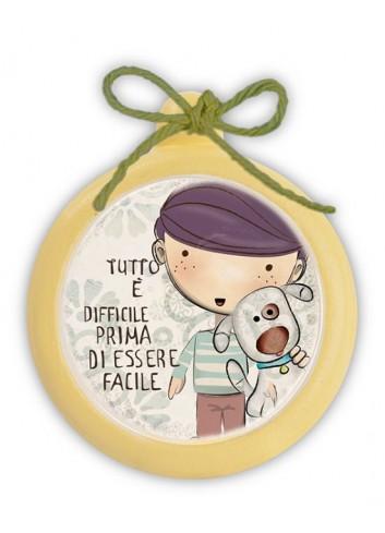 "Mini formella gialla Tonda ""Facile"" PE08T-21Y Pensieri & Parole Egan"