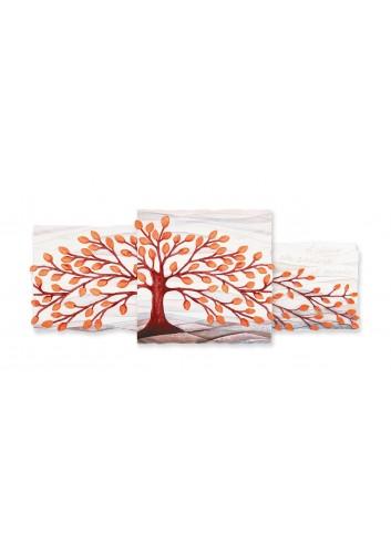 Quadro Trittico Albero della Vita Arancio 100 x 40 cm 113901AR Cartapietra