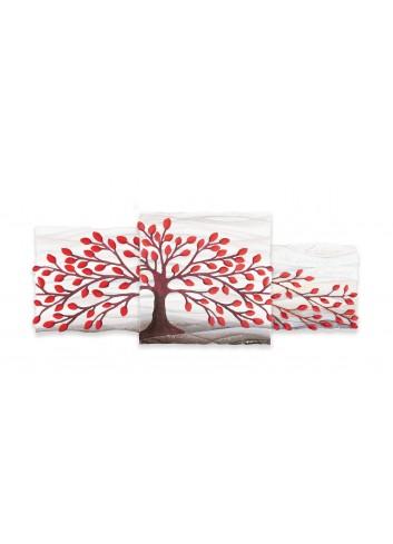 Quadro Trittico Albero della Vita Rosso 100 x 40 cm 113901RO Cartapietra