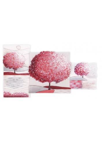 Quadro Trittico Un nuovo Orizzonte Corallo 90 x 50 cm 113916CR Cartapietra