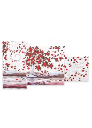 Quadro Trittico Foglie al Vento Rosso 90 x 50 cm 113948RO Cartapietra