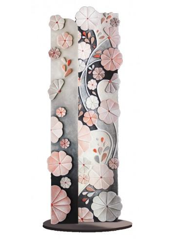 Scultura Luminosa sagomata Rugiada Nero Rosa 100 x 30 cm SL10028NR Cartapietra